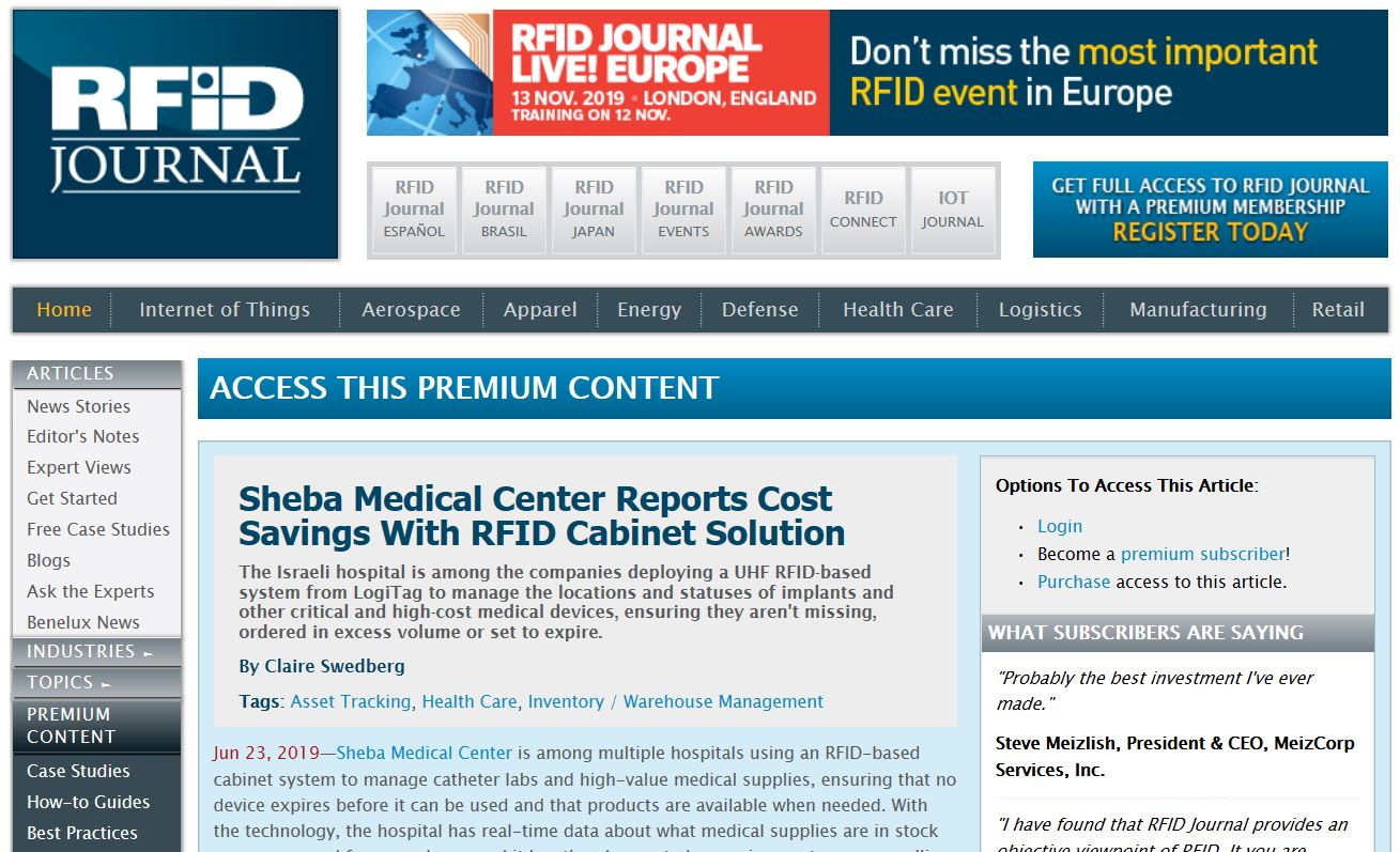 Featured image RFID journal 1 - Sheba Medical Center Reports Cost Savings With RFID Cabinet Solution